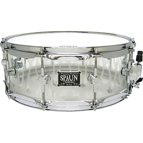 Spaun Acrylic Clear Snare Drum with Sandblasted Flames and Chrome Hardware-thumbnail