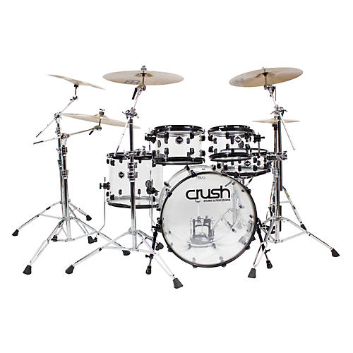 Crush Drums & Percussion Acrylic Series 5-Piece Shell Pack Clear Acrylic with Chrome Hardware