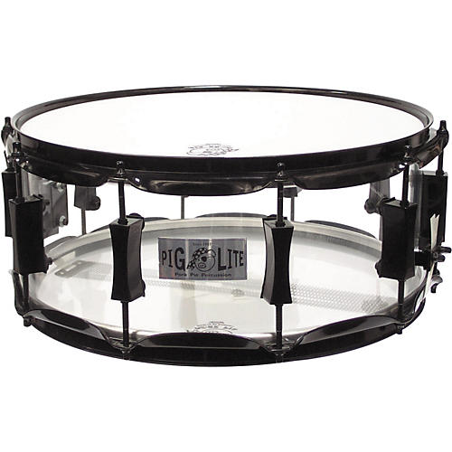 Pork Pie Acrylic Snare Drum with Black Powder Hardware-thumbnail