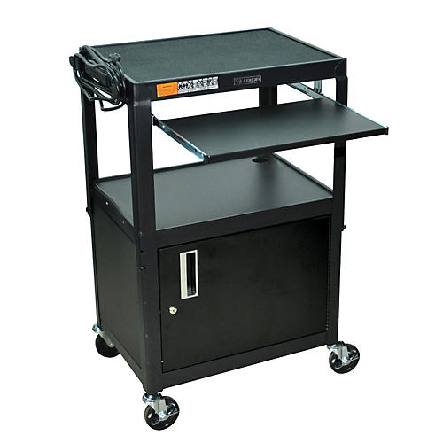 H. Wilson Adjustable Height  Cart with Keyboard Tray and Locking Cabinet
