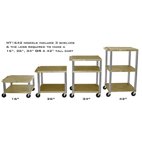 H. Wilson Adjustable-Height Open Shelf Tuffy Cart Tan and Nickel Small-Large