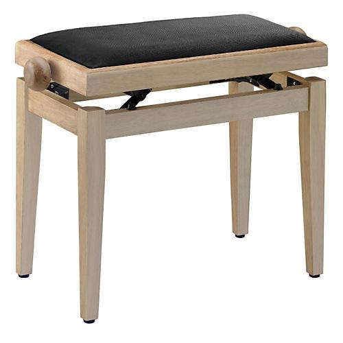 Musician's Gear Adjustable-Height Piano Bench Black Velvet Top Natural Matt Finish