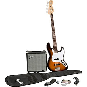 Squier Affinity Series Jazz Bass Pack with Fender Rumble 15 Watt Bass Combo Amp