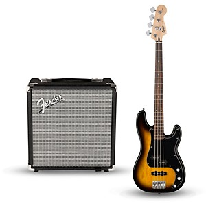Squier Affinity Series PJ Bass Pack with Fender Rumble 15 Watt 1x8 Bass Combo A...