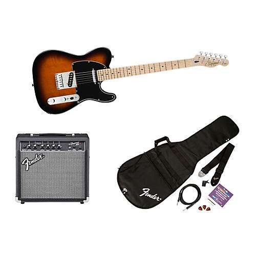 Squier Affinity Telecaster Electric Guitar Pack w/ 15G Amplifier Brown Sunburst