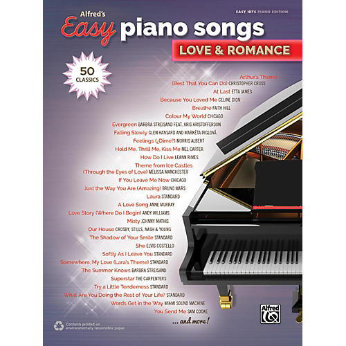 Alfred Alfred's Easy Piano Songs - Love & Romance Easy Hits Piano Songbook-thumbnail