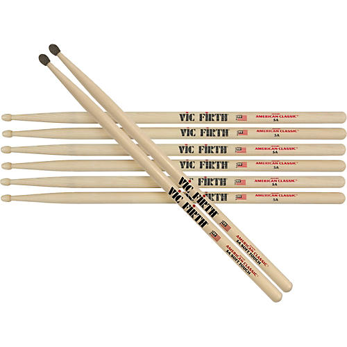 Vic Firth American Classic Hickory 5A Sticks, Buy 3 Get 1 Pair Silver Bullet Free