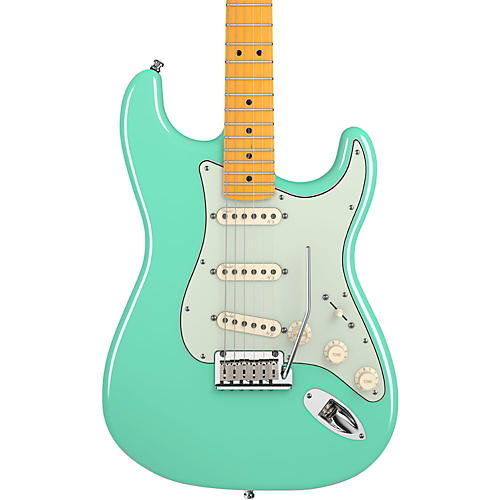 Fender American Deluxe Stratocaster V Neck Electric Guitar Surf Green Maple Fretboard