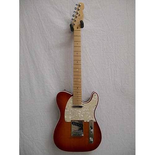 used fender american deluxe telecaster solid body electric guitar aged cherry sunburst guitar. Black Bedroom Furniture Sets. Home Design Ideas