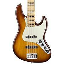 American Elite Jazz Bass V, Maple Electric Bass Guitar Tobacco Sunburst