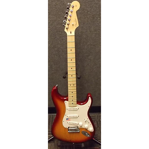 Fender American Nitro Satin Stratocaster 3 Tone Sunburst Solid Body Electric Guitar-thumbnail
