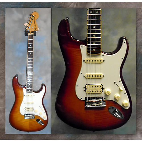 Fender American Select Stratocaster Exotic Flame Maple Top Solid Body Electric Guitar-thumbnail