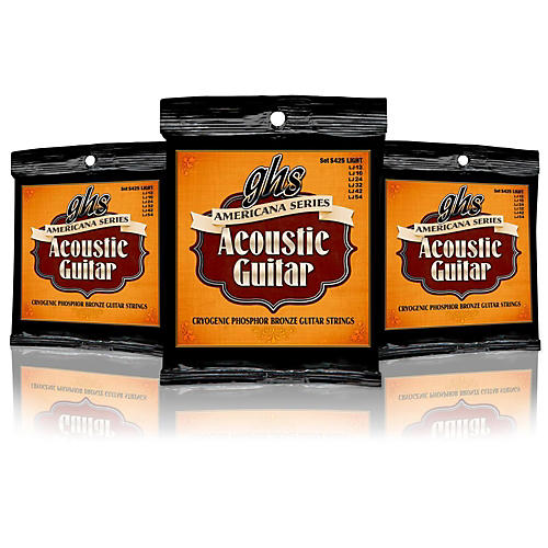 GHS Americana Light Acoustic Guitar Strings (12-54) - 3 Pack-thumbnail