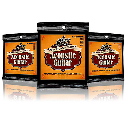 GHS Americana Medium Acoustic Guitar Strings (13-56) - 3 Pack-thumbnail