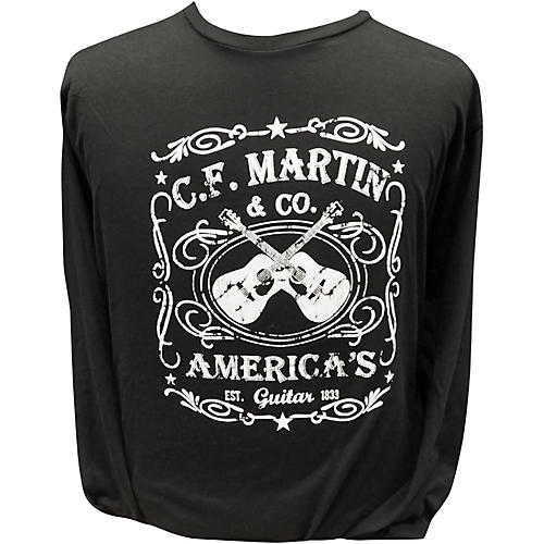 Martin America's Dual Guitar Logo - Long Sleeve Black T-Shirt-thumbnail