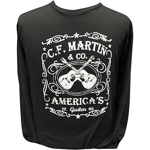 Martin America's Dual Guitar Logo - Long Sleeve Black T-Shirt-thumbnail