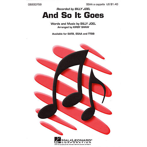 Hal Leonard And So It Goes SSAA A Cappella by Billy Joel arranged by Kirby Shaw