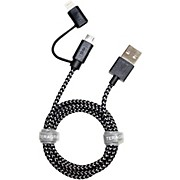 Tera Grand Apple MFi Certified 2-In-1 USB Sync and Charge Braided Cable with Lightning and Micro USB Connector - 3.2 ft.
