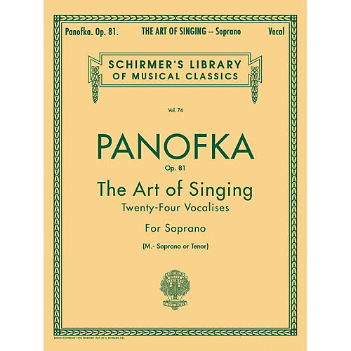 G. Schirmer Art of Singing (24 Vocalises), Op.81 for Soprano, Mezzo-Soprano or Tenor Voice by Panofka H P