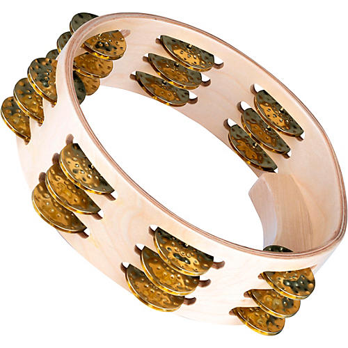 Meinl Artisan Compact Maple Wood Tambourine Three Rows Hammered Brass 8 in.