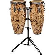 """LP Aspire 10"""" and 11"""" Conga Set with Double Conga Stand Havana Cafe with Brushed Nickel Hardware"""
