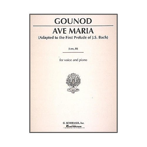 G. Schirmer Ave Maria - Low Voice In D By Bach / Gounod-thumbnail