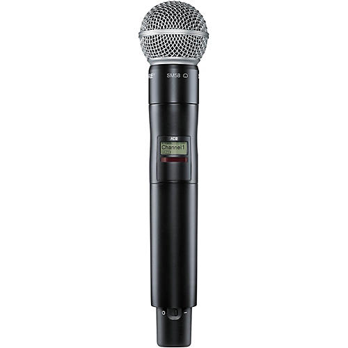 shure axient digital ad2 sm58 handheld wireless transmitter with sm58 microphone band 1 black. Black Bedroom Furniture Sets. Home Design Ideas