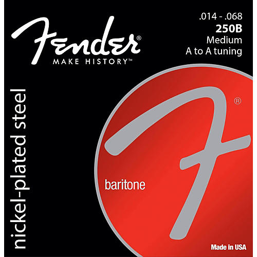 Fender B250 Nickel-Plated Steel Baritone Medium Electric Guitar Strings (14-68)-thumbnail