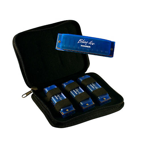 Hohner BIP Blue Ice Harmonica, 3 Pack with Zippered Carrying Case-thumbnail