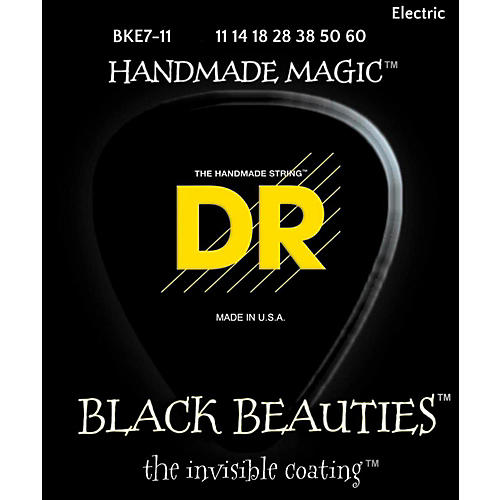 DR Strings BLACK BEAUTIES Black Coated Heavy 7-String Electric Guitar Strings (11-60)-thumbnail
