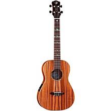 Luna Guitars Baritone Zebra Acoustic-Electric Ukulele Level 1 Natural High Tide Design