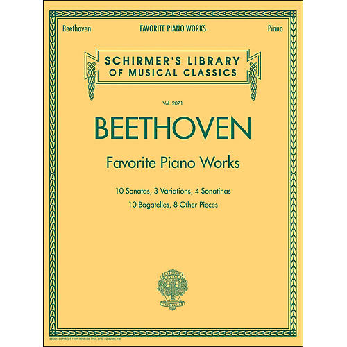 G. Schirmer Beethoven: Favorite Piano Works - Schirmer's Library Of Musical Classics LB 2071 By Beethoven