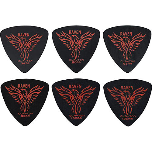 Clayton Black Raven Rounded Triangle Guitar Picks .63 mm 1 Dozen