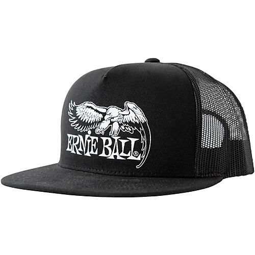 Ernie Ball Black Trucker Cap w/ Ernie Ball Eagle
