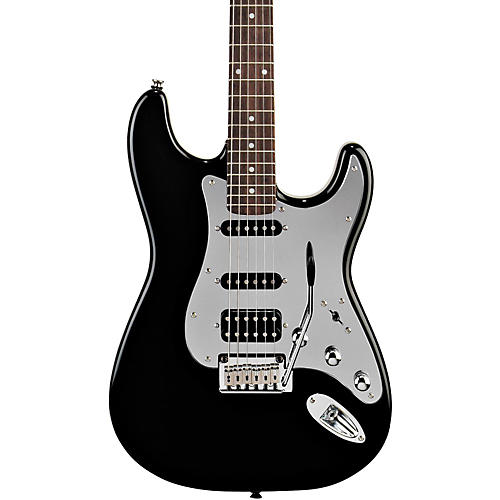 Squier Black and Chrome Fat Strat Electric Guitar-thumbnail