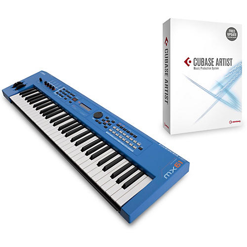 yamaha blue 61 key music production synthesizer with cubase artist guitar center. Black Bedroom Furniture Sets. Home Design Ideas