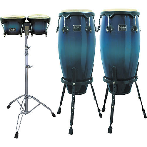Schalloch Blue Fade Conga/Bongo Set with Stands-thumbnail