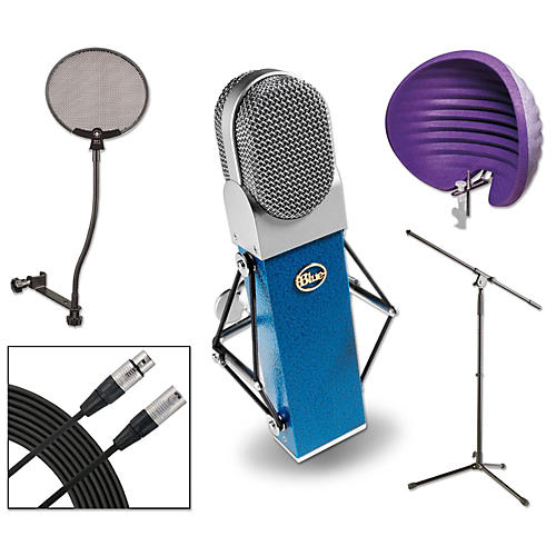 Blue Blueberry HALO Vocal Shield Stand 2 Pack Pop Filter and Cable Kit-thumbnail