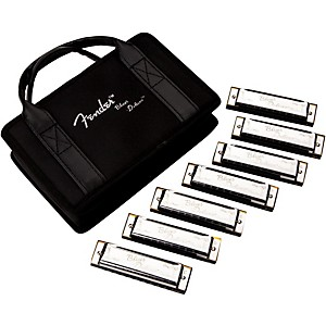 Fender Blues Deluxe Harmonica Set 7 Pack with Case, Keys of C, G, A, D, F,...