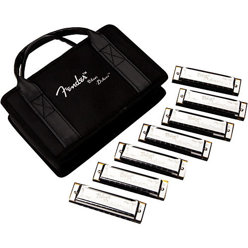 Fender Blues Deluxe Harmonica Set (7-Pack with Case, Keys of C, G, A, D, F, E and Bb)-thumbnail