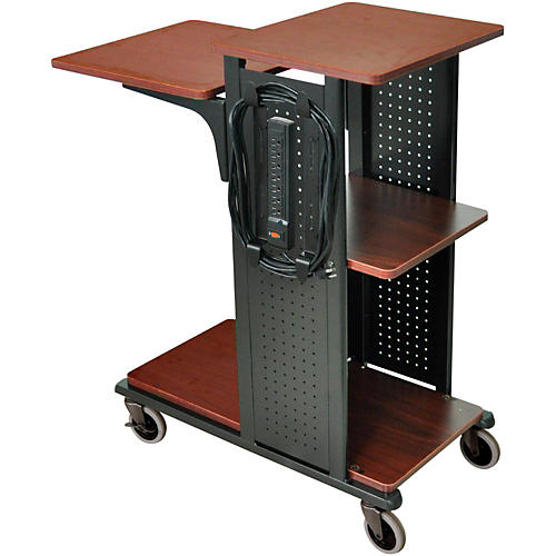 H. Wilson Boardroom Presentation Station with 7 outlet electrical assembly Black Cherry Medium