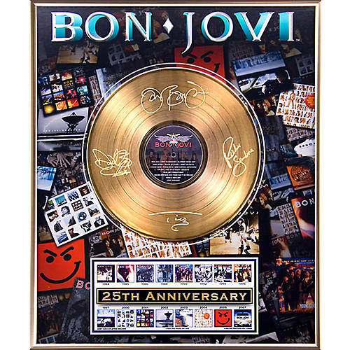 24 Kt. Gold Records Bon Jovi - 25th Anniversary Gold LP Limited Edition of 5000-thumbnail