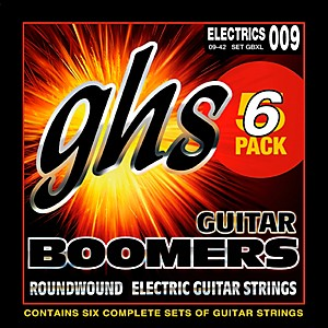 GHS Boomers GBXL Extra Light Electric Guitar Strings 9-42 5 Pack by GHS