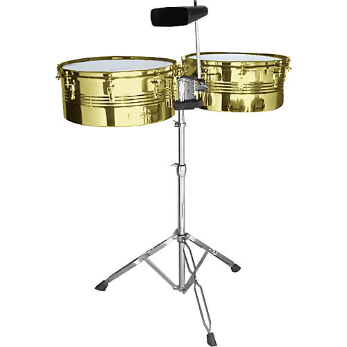 Beato Brass Timbale Set with Cowbell and Stand-thumbnail