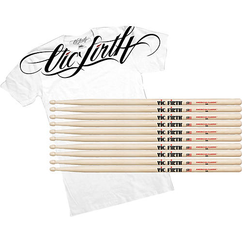 Vic Firth Buy 5 Pairs of American Classic Hickory Drumsticks, Get a Free Vic Firth Collar T-Shirt