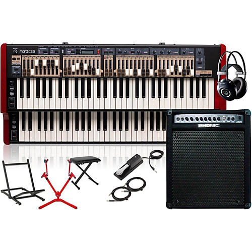 Nord C2D Combo Organ with Keyboard Amplifier, Matching Stand, Headphones, Bench, and Sustain Pedal