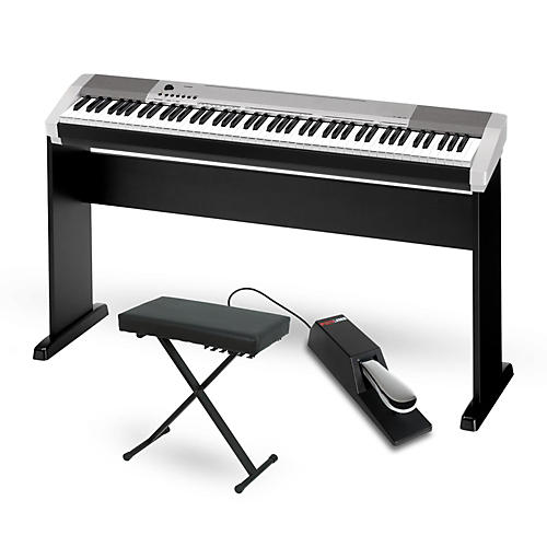 casio cdp 130 digital piano silver with cs44 wood stand. Black Bedroom Furniture Sets. Home Design Ideas