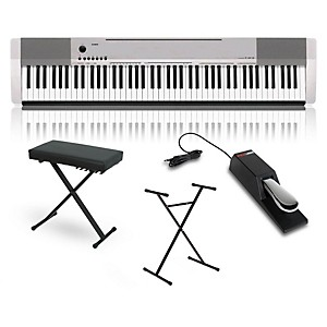 Casio CDP-130 Digital Piano Silver with Stand Sustain Pedal and Deluxe Keyb... by Casio