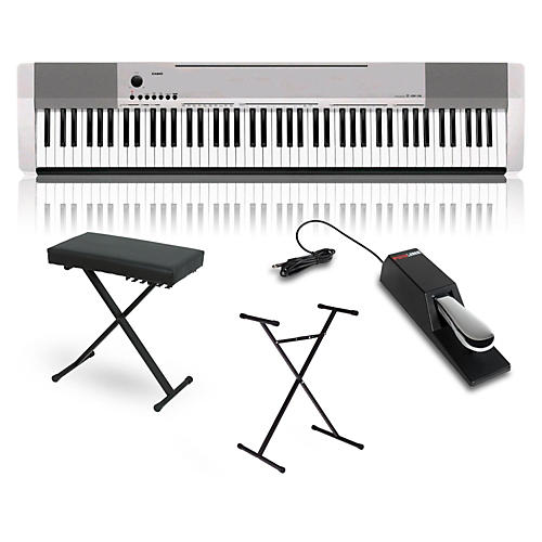 Casio CDP-130 Digital Piano Silver with Stand Sustain Pedal and Deluxe Keyboard Bench-thumbnail