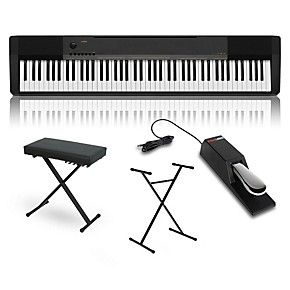casio cdp 130 digital piano with stand sustain pedal and deluxe keyboard bench guitar center. Black Bedroom Furniture Sets. Home Design Ideas